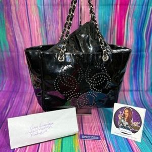 Auth Chanel Chain Pancing Triple Cocomark Tote